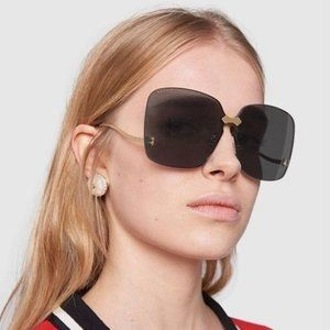 NEW GUCCI GG0352S 001 Gold/Gray Oversized